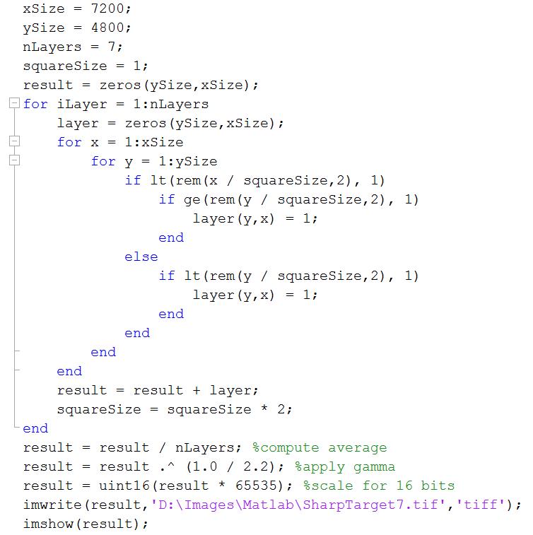 sharp target matlab code