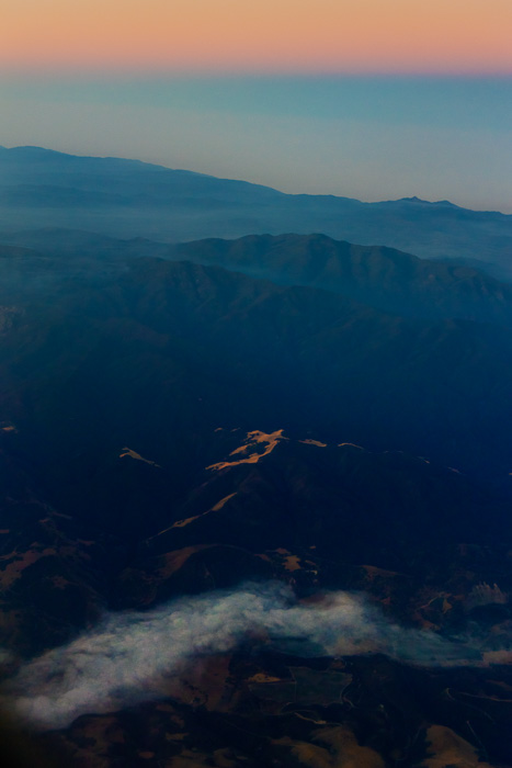 Soberanes Fire before dawn on flight from MRY to PHX